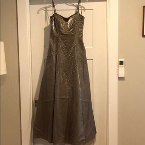 Taupe full length prom dress
